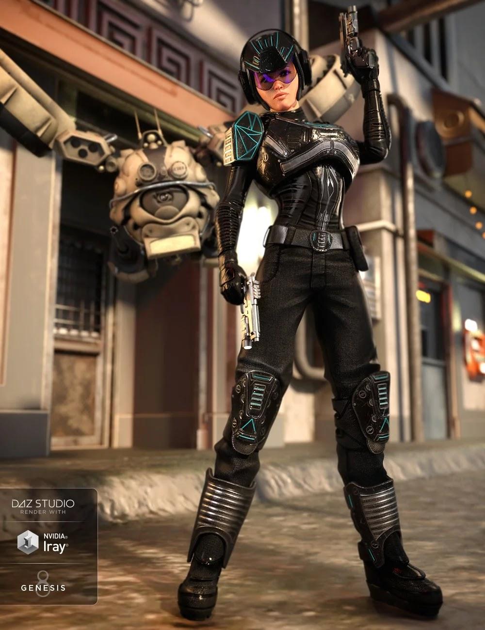 Sci-Fi Battle Outfit for Genesis 8 Female(s)_DAZ3D下载站
