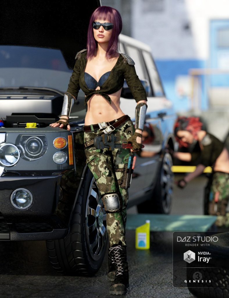 The Mechanic Outfit for Genesis 3 Female(s)_DAZ3D下载站