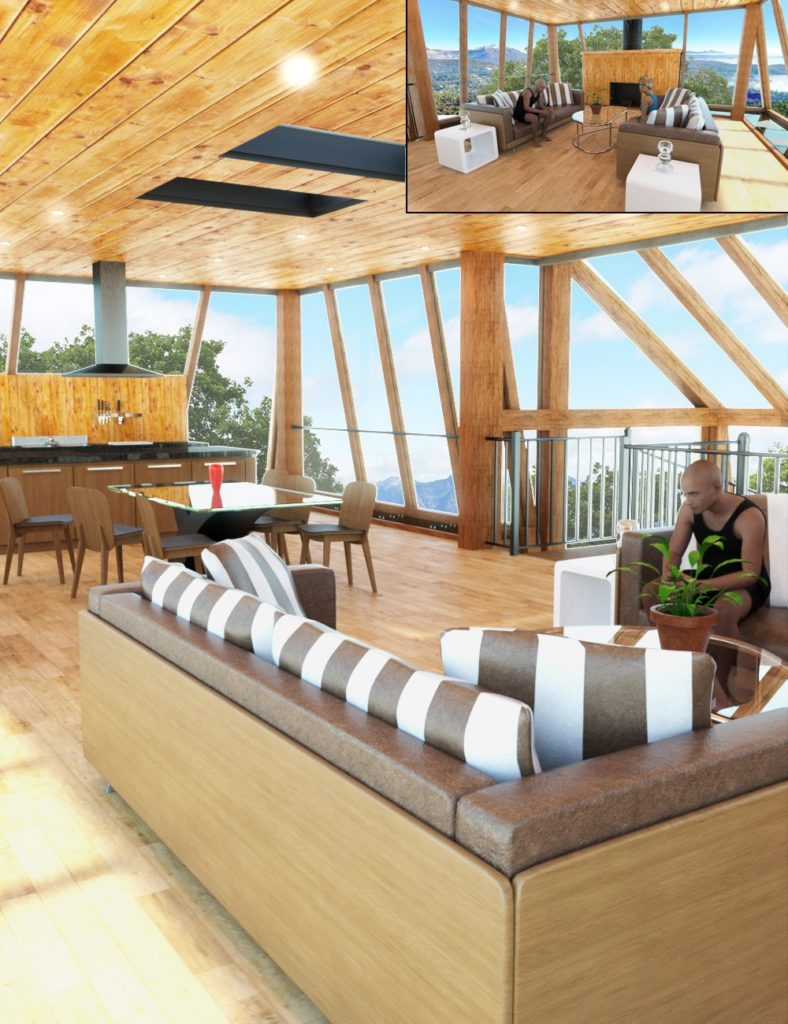 Tree House Living and Dining Room_DAZ3D下载站