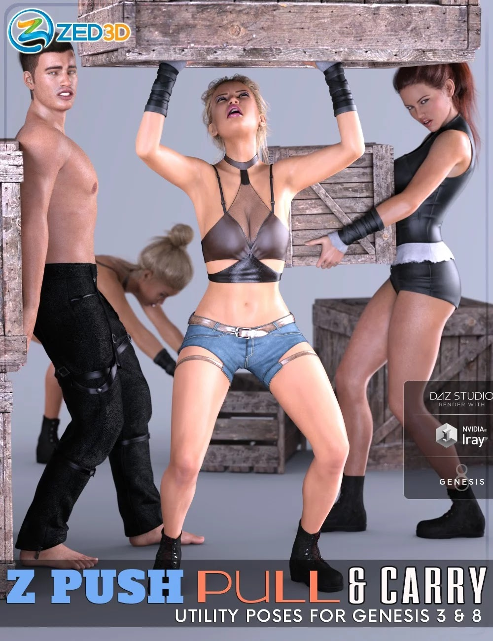 Z Push Pull and Carry Utility Poses for Genesis 3 and 8_DAZ3D下载站
