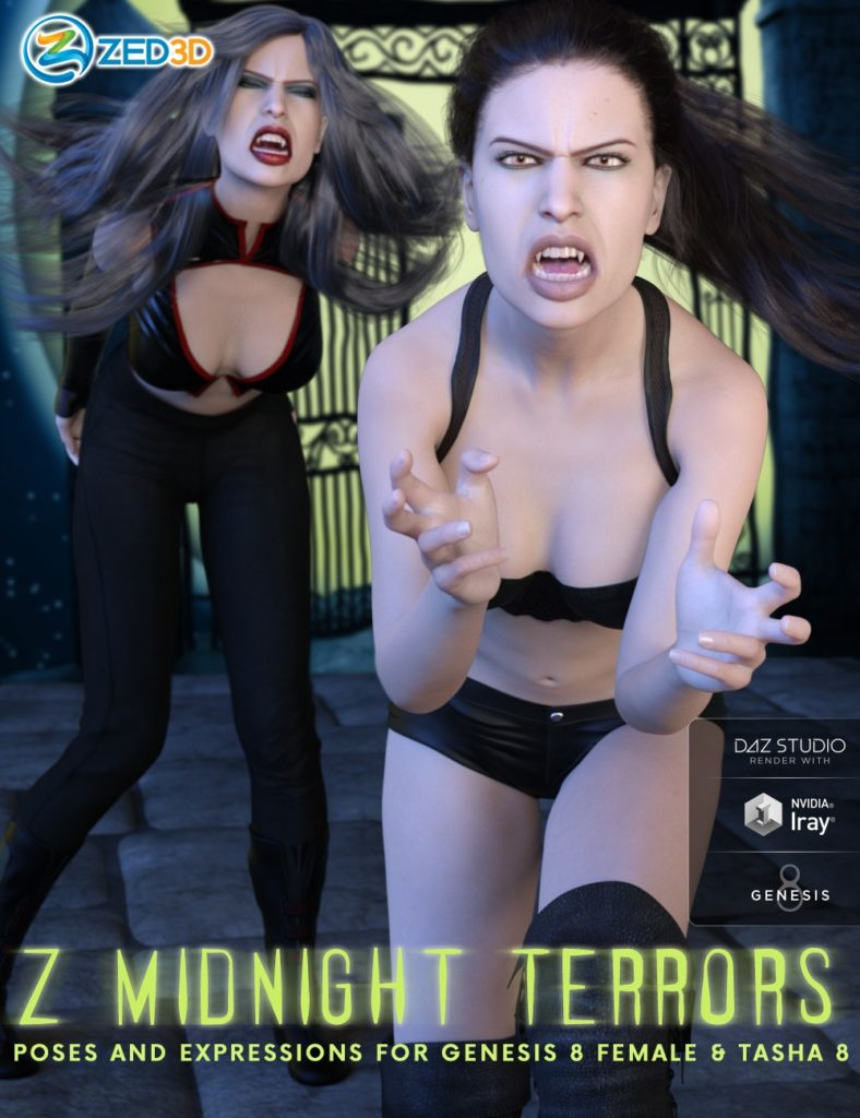 Z Midnight Terrors Poses and Expressions for Genesis 8 Female and Tasha 8_DAZ3D下载站