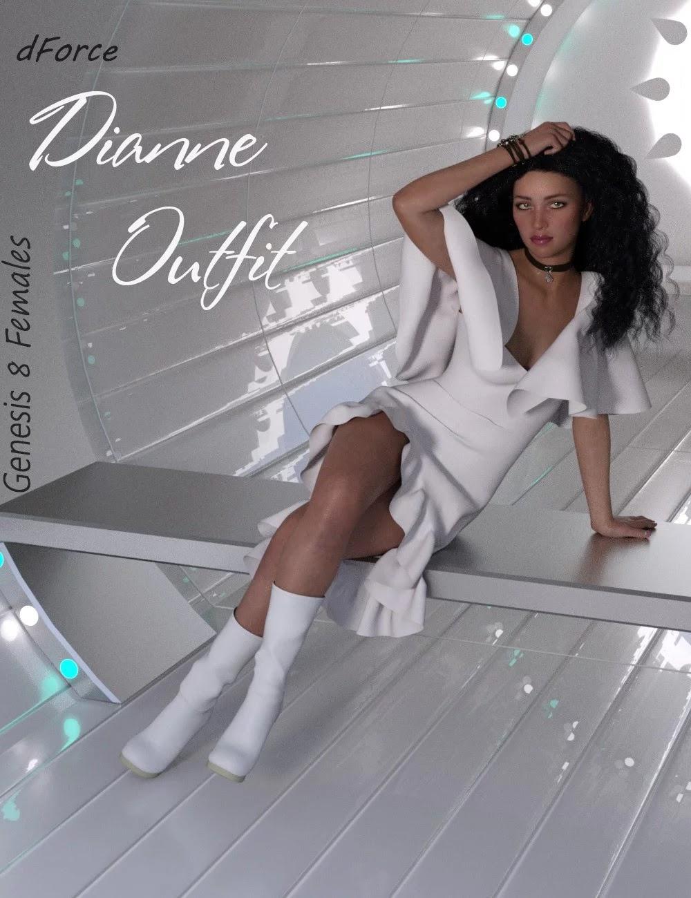 dForce Dianne Outfit for Genesis 8 Female(s)_DAZ3D下载站