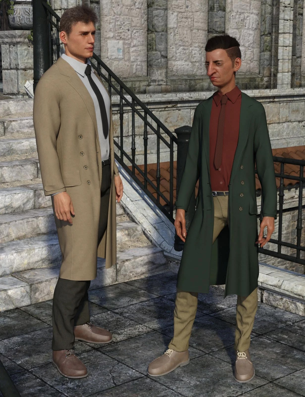 dForce Trench Coat Outfit for Genesis 8 Male(s)_DAZ3D下载站