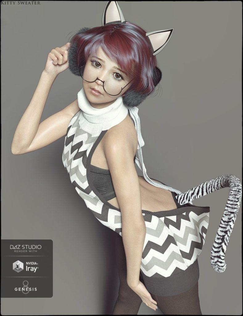 dForce Kitty Sweater for Genesis 8 Female(s)_DAZ3D下载站