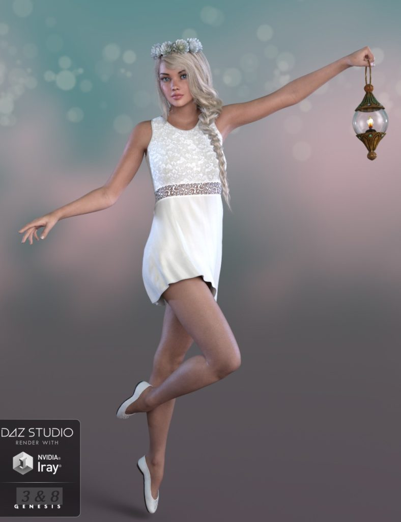 dForce Summer Angel Outfit for Genesis 3 and 8 Female(s)_DAZ3D下载站