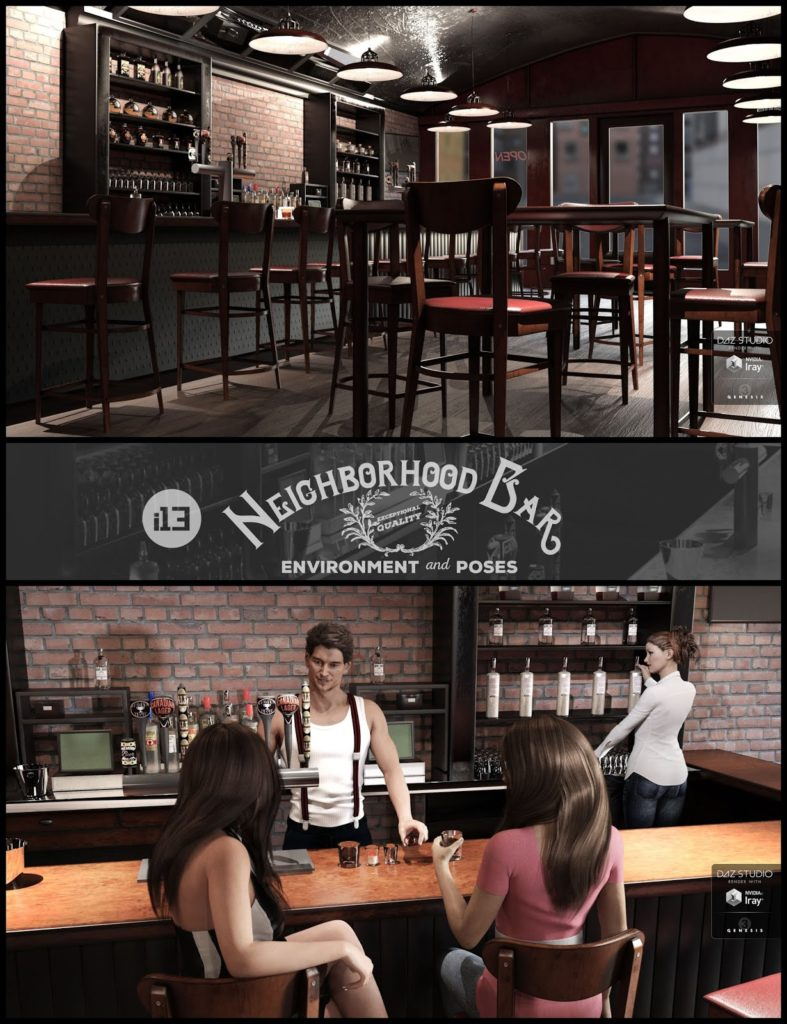 i13 Neighborhood Bar Environment with Poses_DAZ3D下载站
