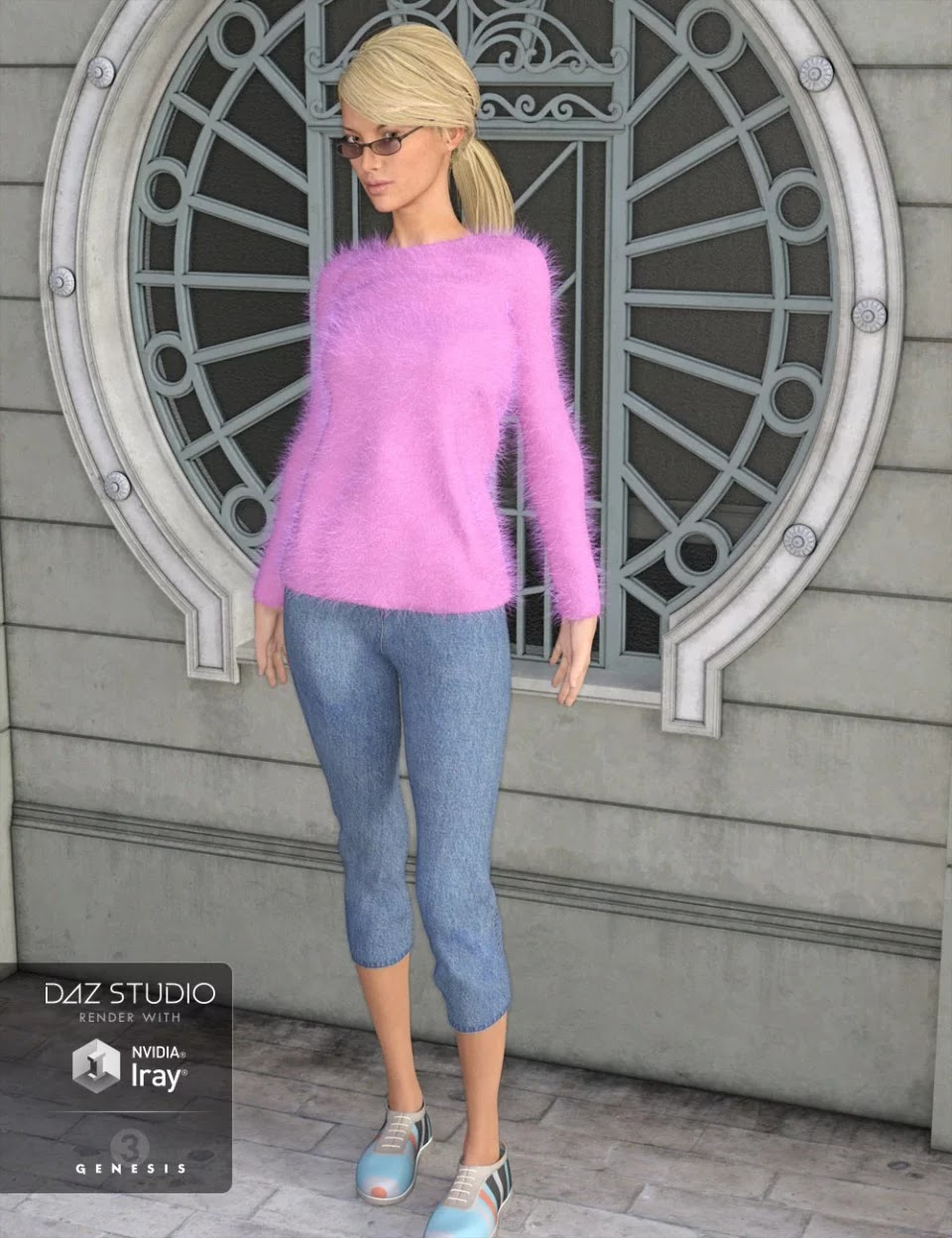 Angora Sweater Outfit for Genesis 3 Female(s)_DAZ3D下载站
