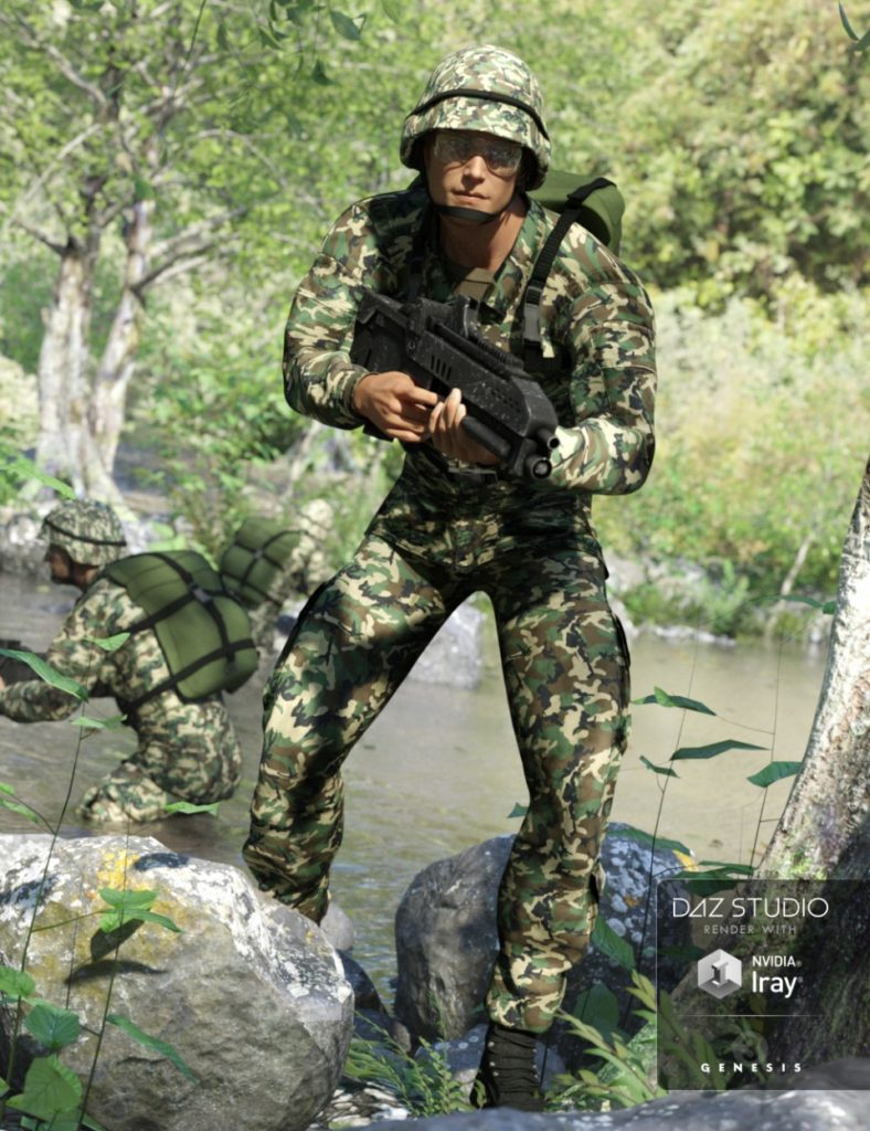 Army Uniform for Genesis 3 Male(s) and Genesis 2 Male(s)_DAZ3D下载站