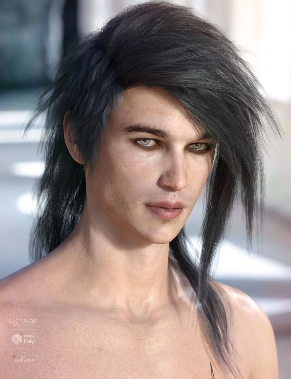 Bastien Hair for Genesis 3 & 8 Male(s)_DAZ3D下载站
