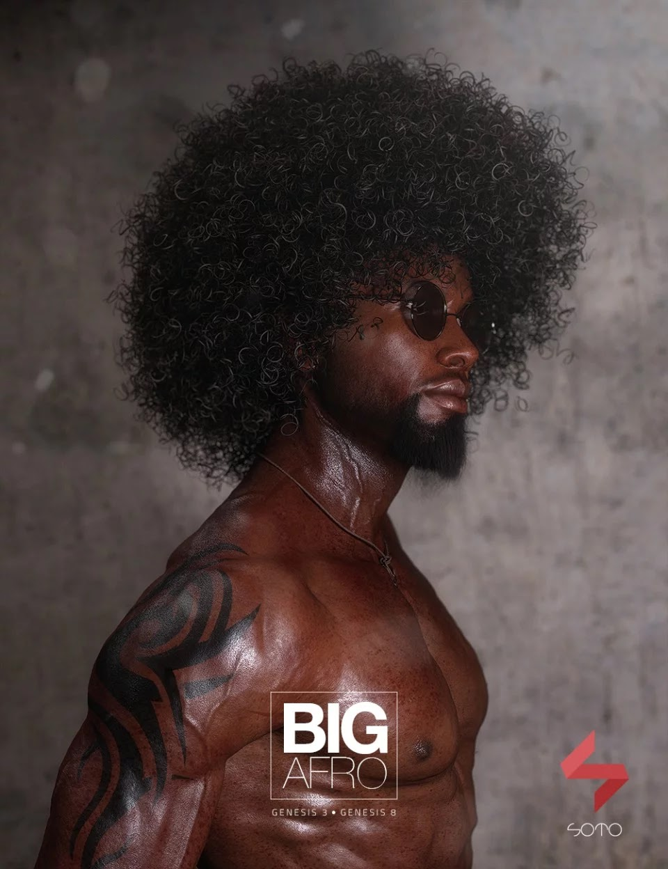 Big Afro Hair for Genesis 3 and 8_DAZ3D下载站