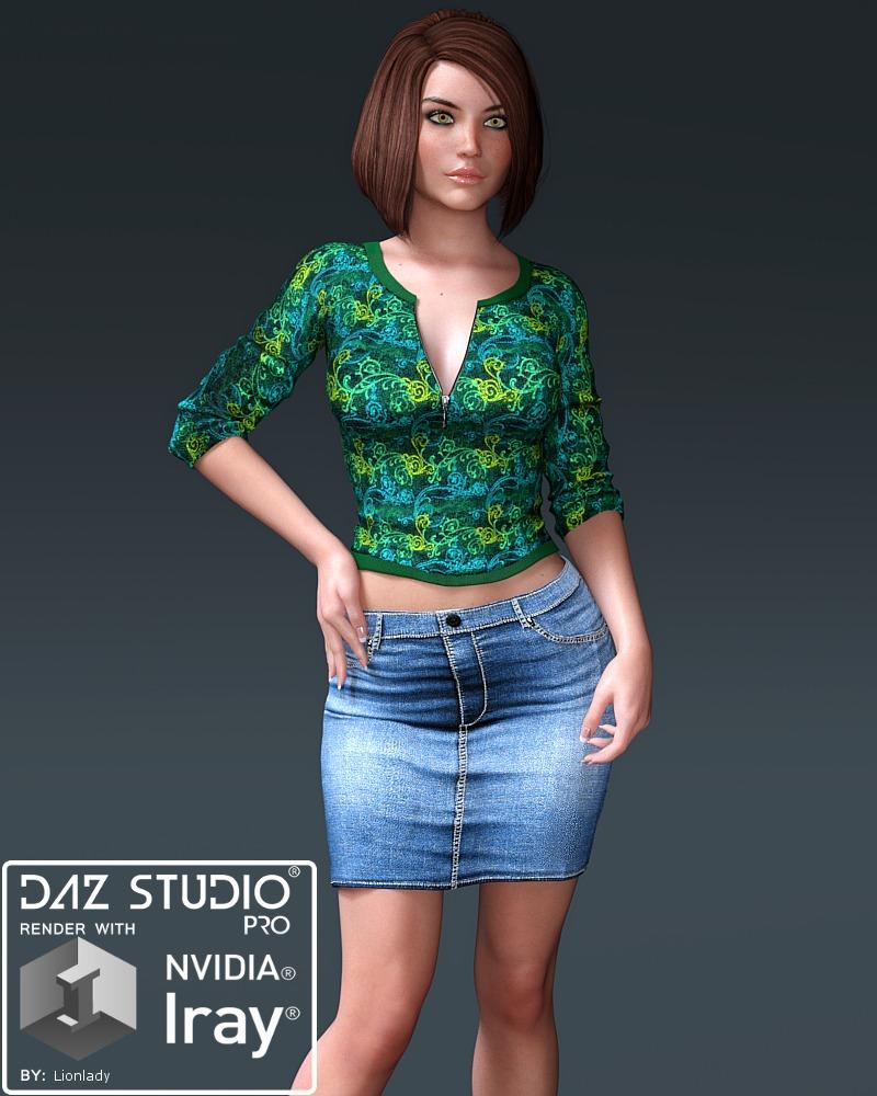 Blair Zip Top and Long Mini for G3F_DAZ3D下载站