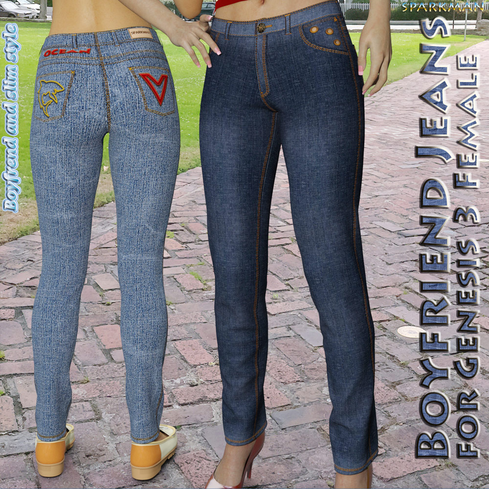 Boyfriend Jeans for Genesis 3 Female(s)