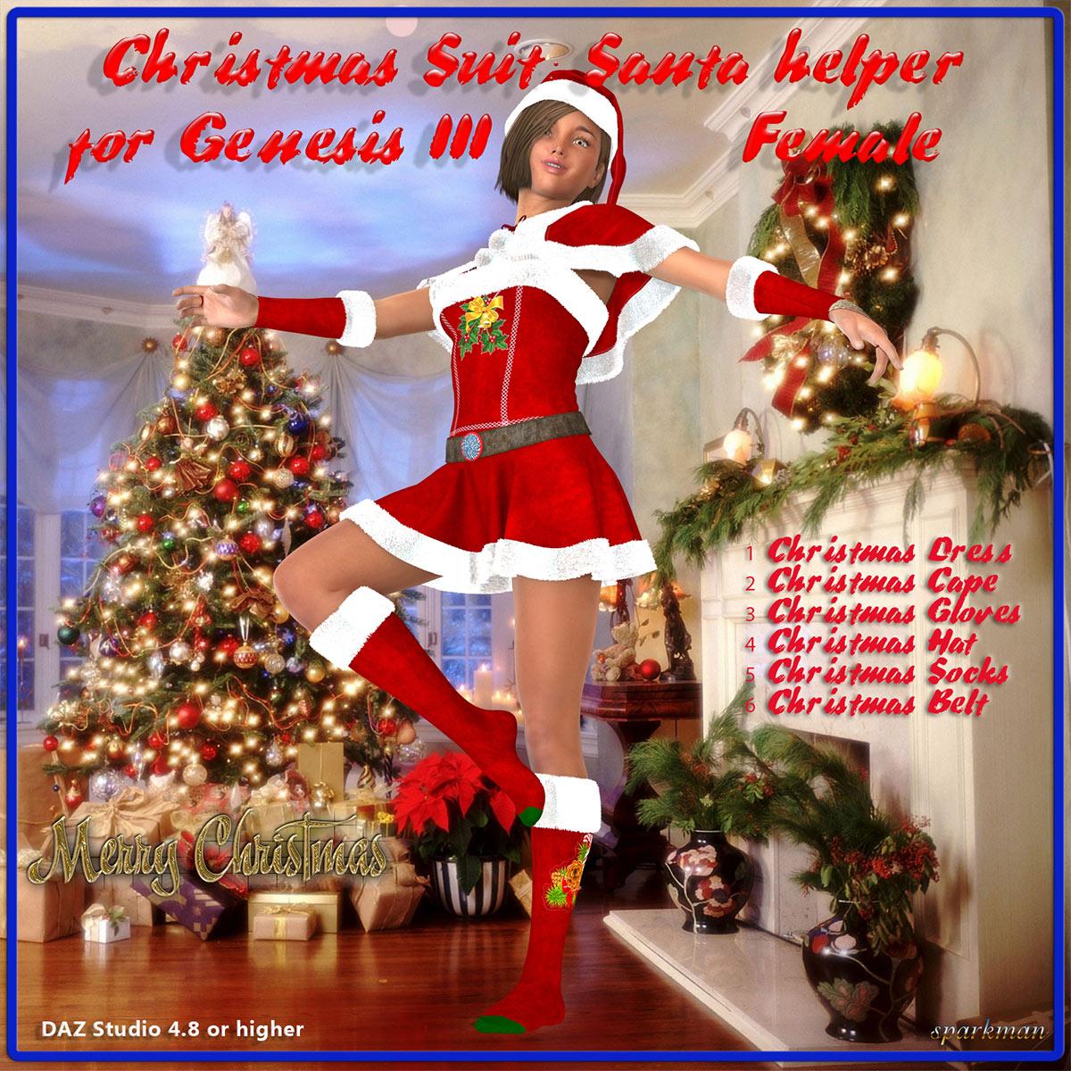 Christmas Suit: Santa Helper for DAZ Genesis 3 Female(s)_DAZ3D下载站
