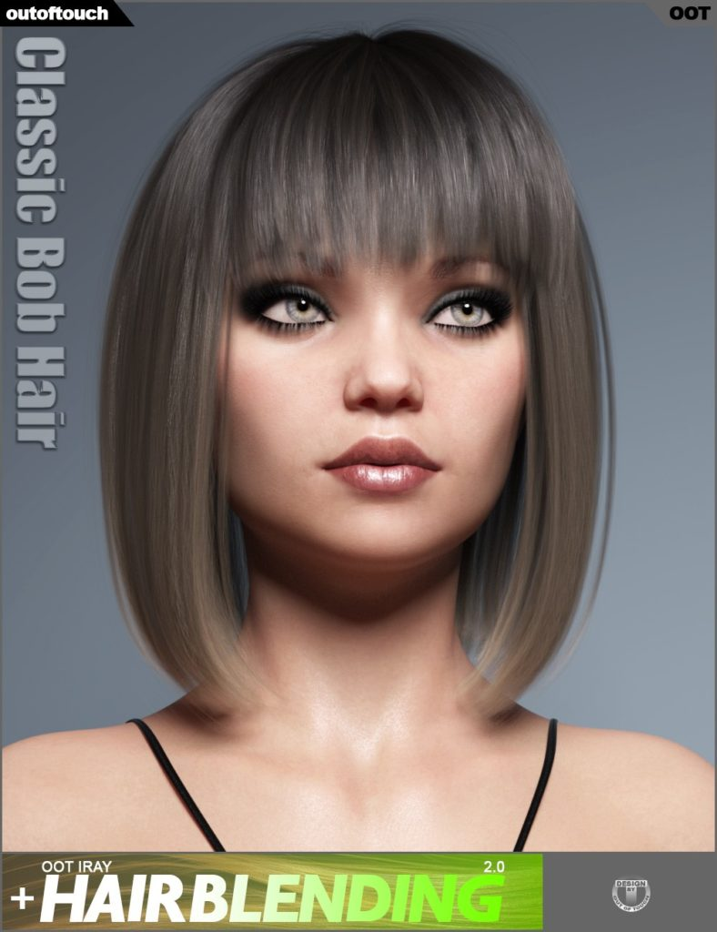 Classic Bob Hair for Genesis 3 and 8 Female(s)_DAZ3D下载站