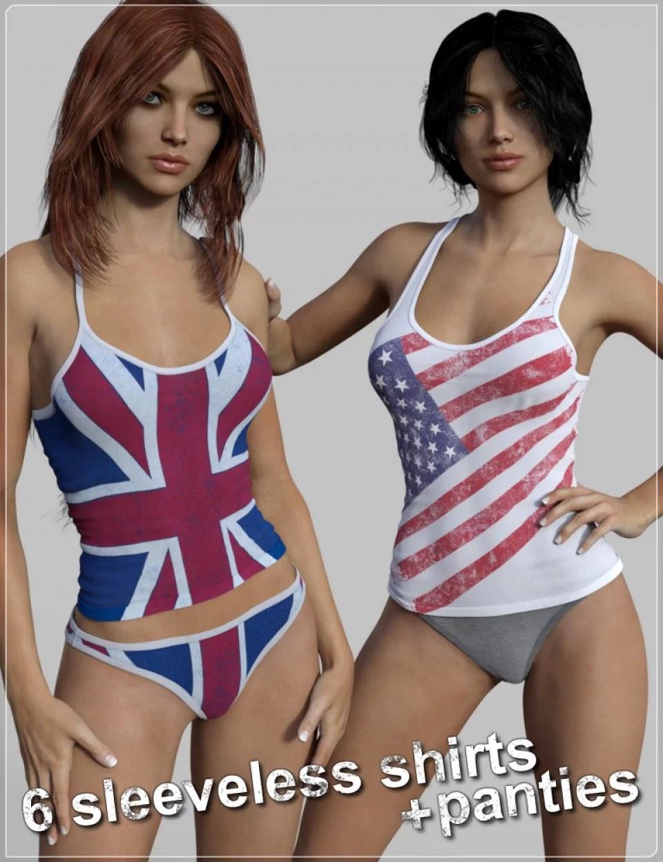 FM Tank-top & Panties Pack for Genesis 3 Female(s)_DAZ3D下载站