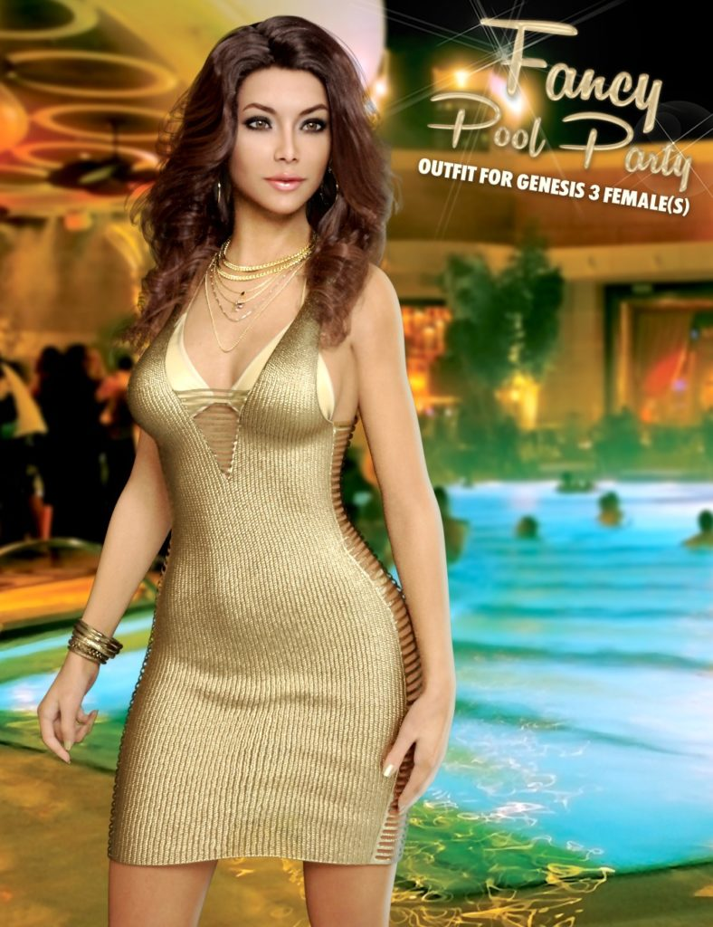 Fancy Pool Party Outfit for Genesis 3 Female(s)_DAZ3D下载站