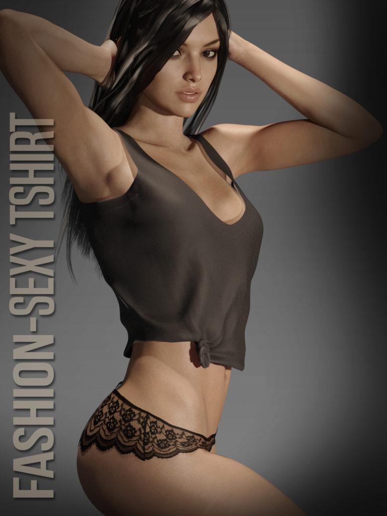 Fashion SexyTshirt for G3F_DAZ3D下载站