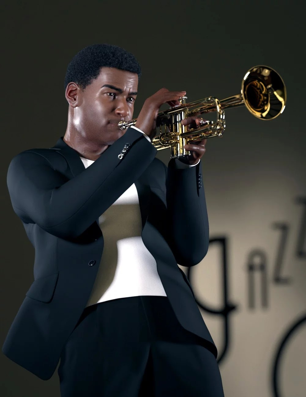 HD Trumpet and Poses for Genesis 8_DAZ3D下载站