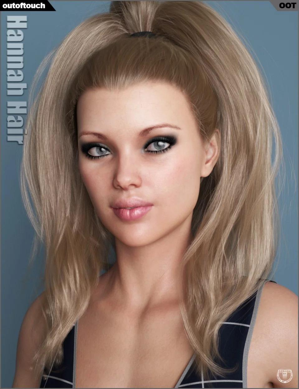 Hannah Ponytail Hair for Genesis 3 and 8 Female(s)_DAZ3D下载站