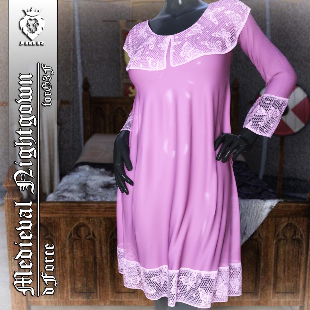 JMR dForce Medieval Nightgown for G3F_DAZ3D下载站