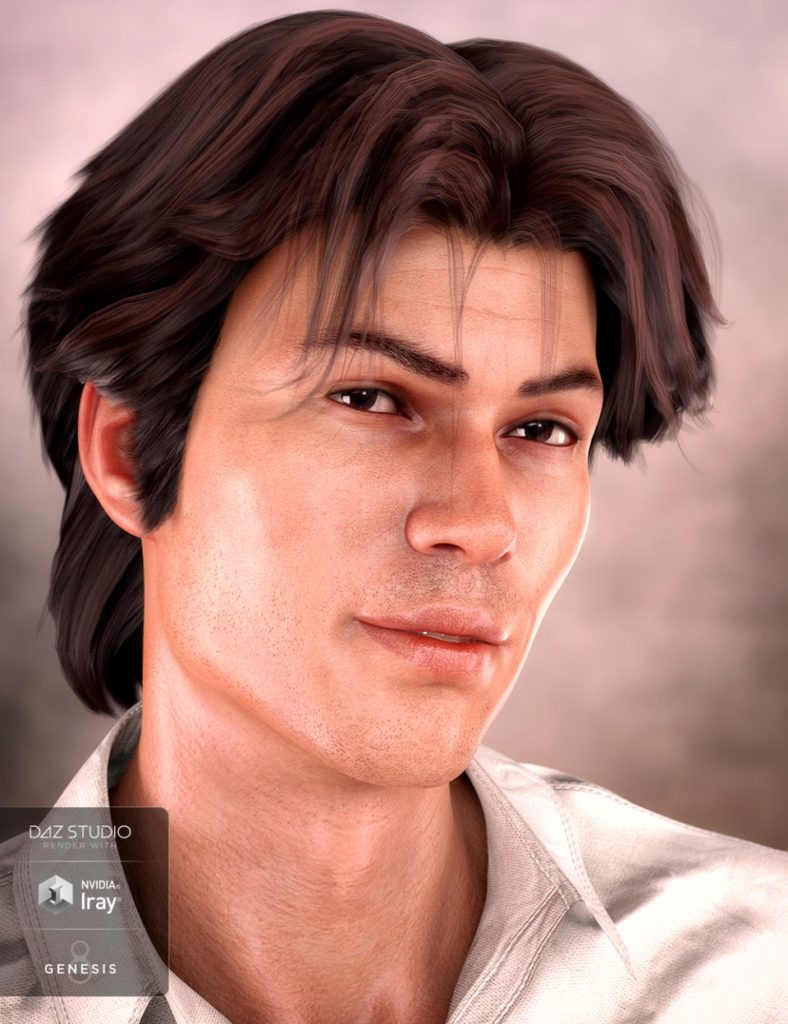Landis Hair for Genesis 8 and Genesis 3 Male(s)_DAZ3D下载站