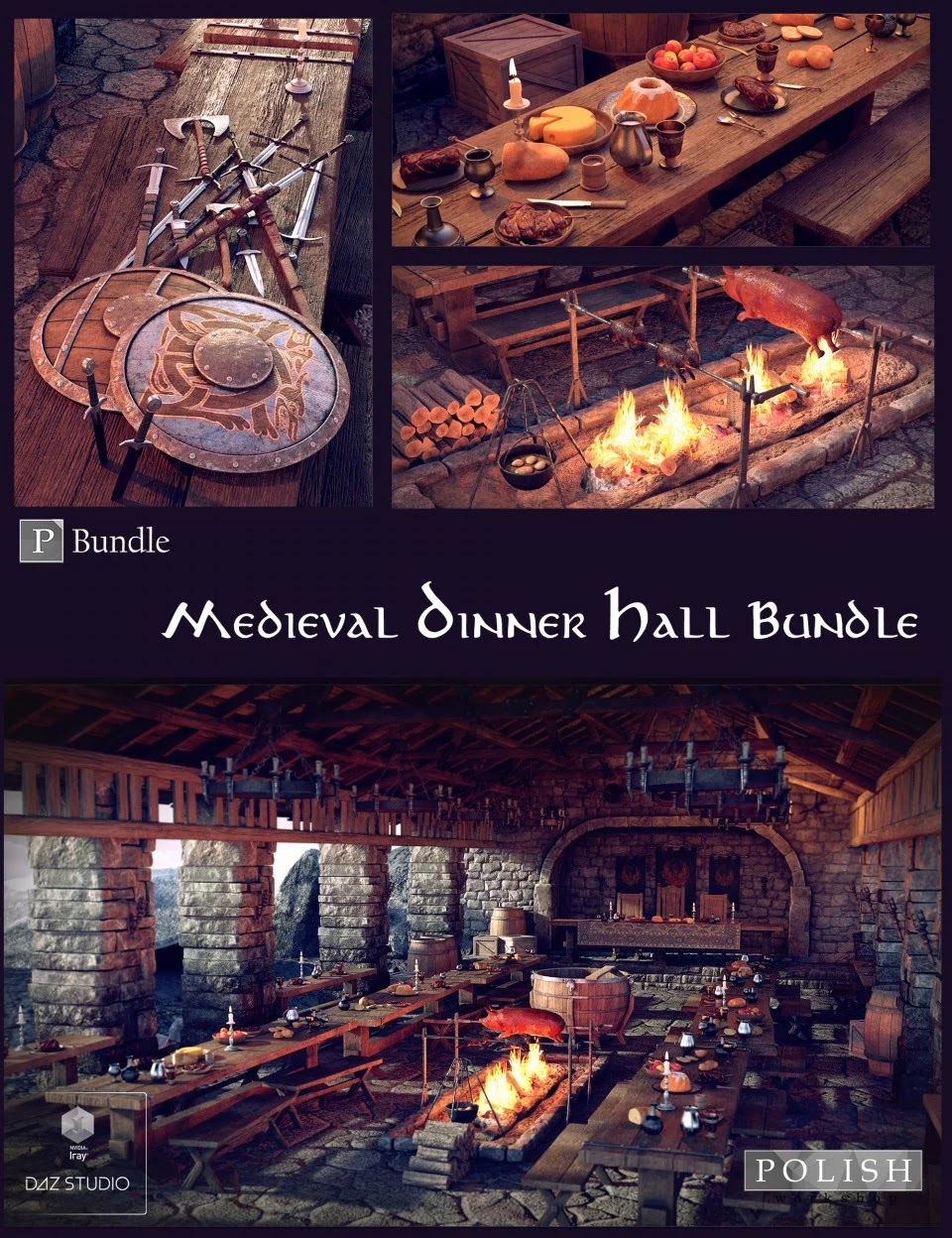 Medieval Dinner Hall Bundle_DAZ3D下载站