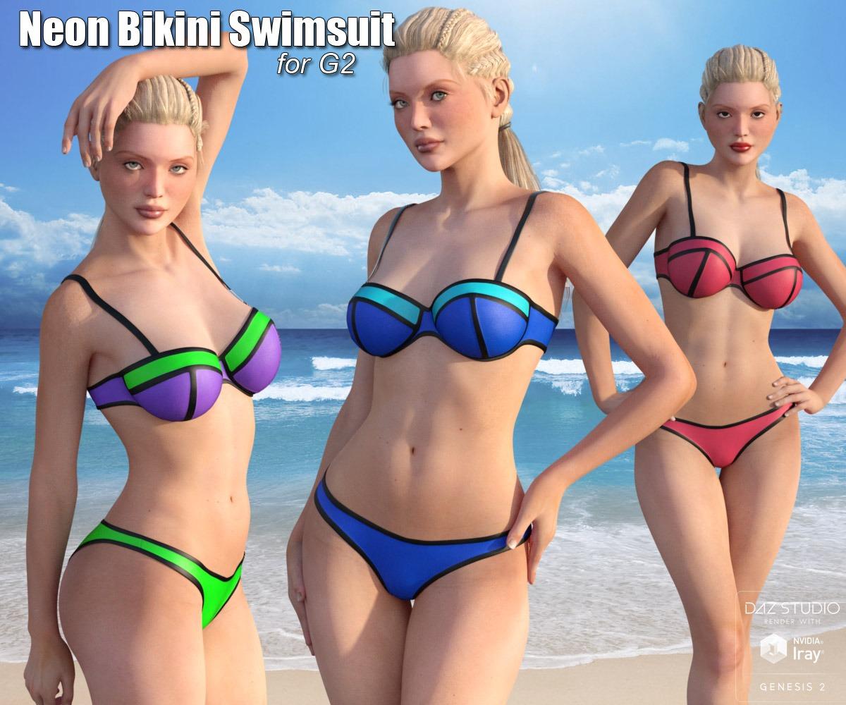 Neon Bikini Swimsuit for G2_DAZ3D下载站