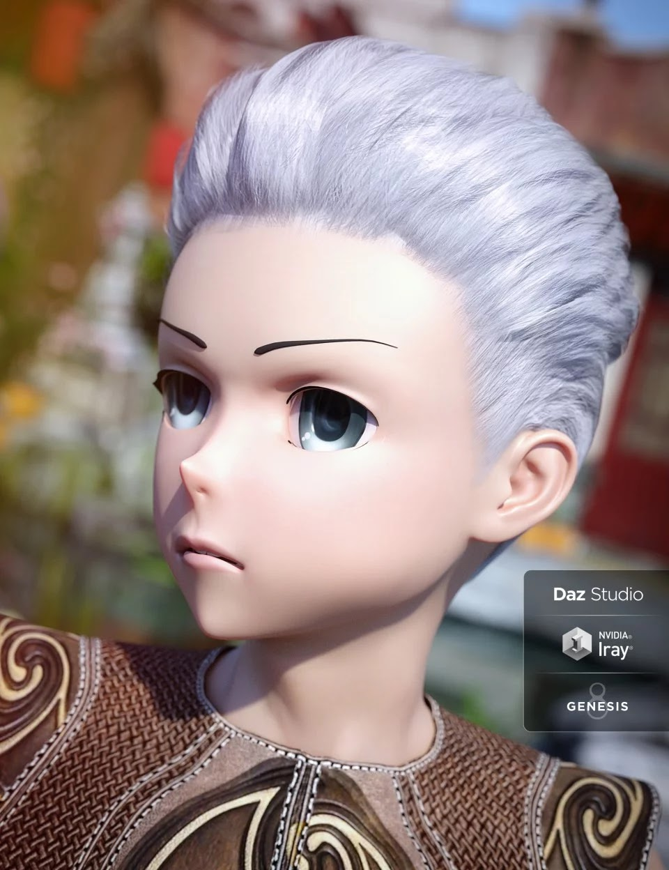 Short Anime Hair for Genesis 3 and 8 Male(s)_DAZ3D下载站