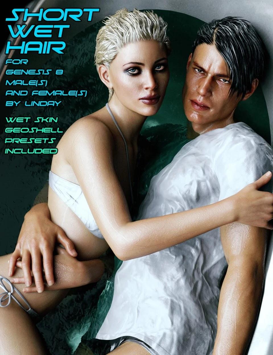 Short Wet Hair for Genesis 8 Male(s) and Female(s)_DAZ3D下载站
