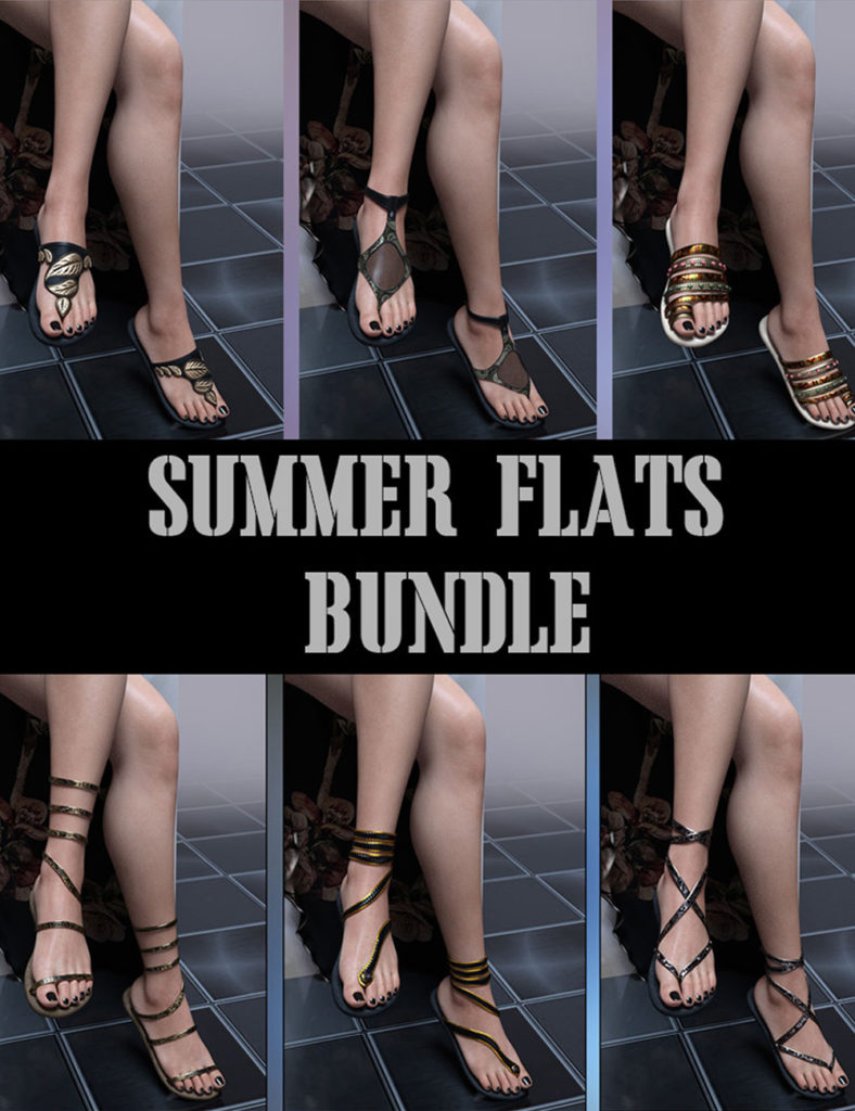 Summer Flats Bundle for Genesis 8 Females_DAZ3D下载站