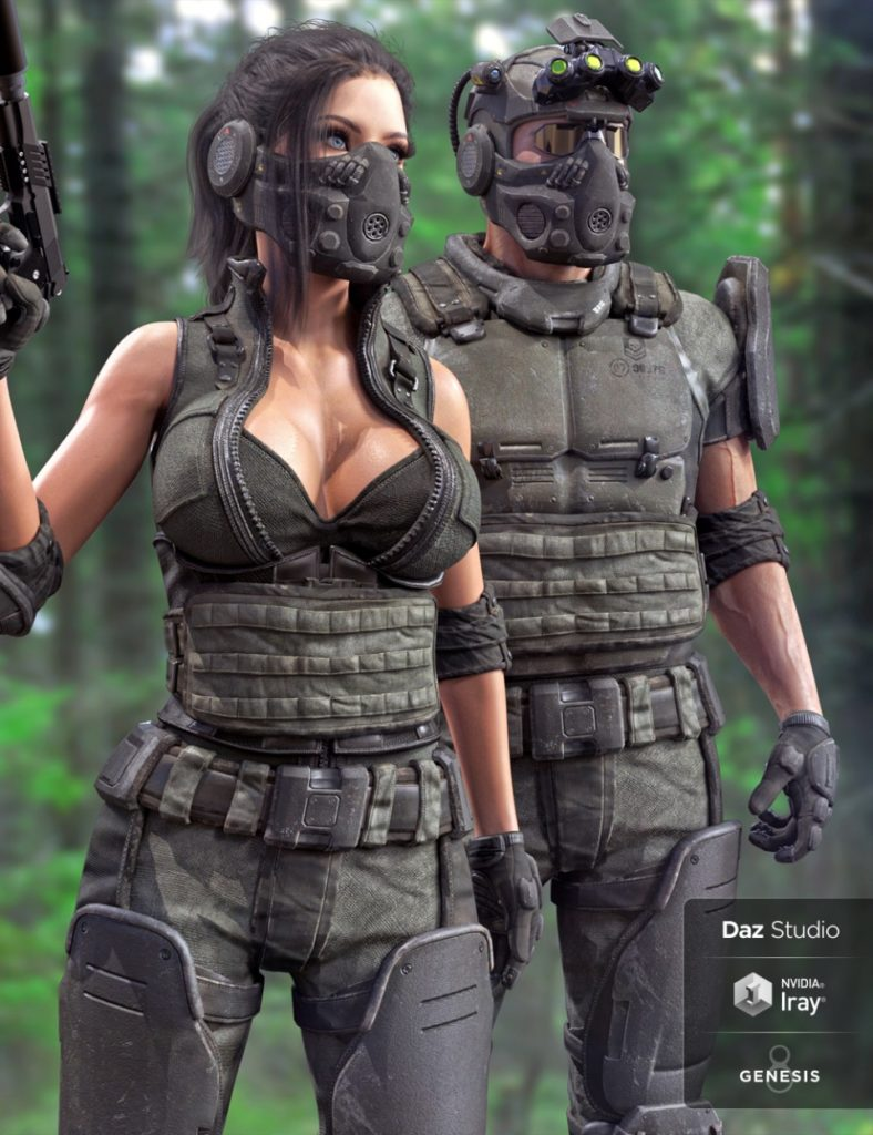 Tactical Assault Outfit for Genesis 8 Male(s) and Female(s)_DAZ3D下载站