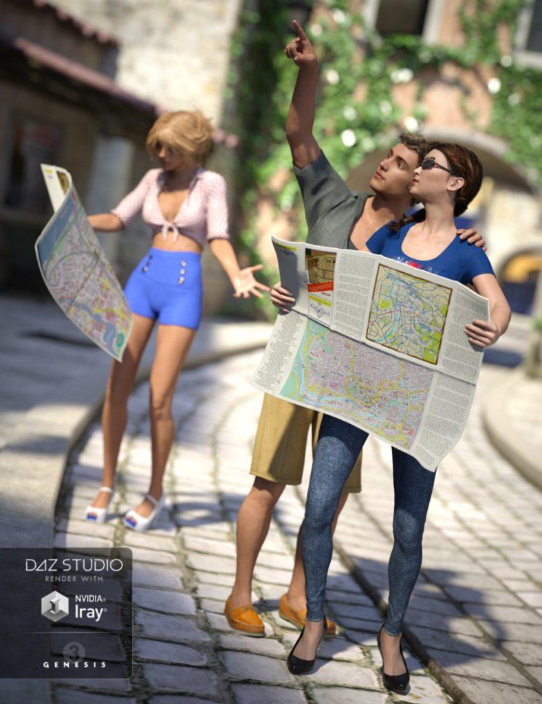 Tourist Poses for Genesis 3_DAZ3D下载站