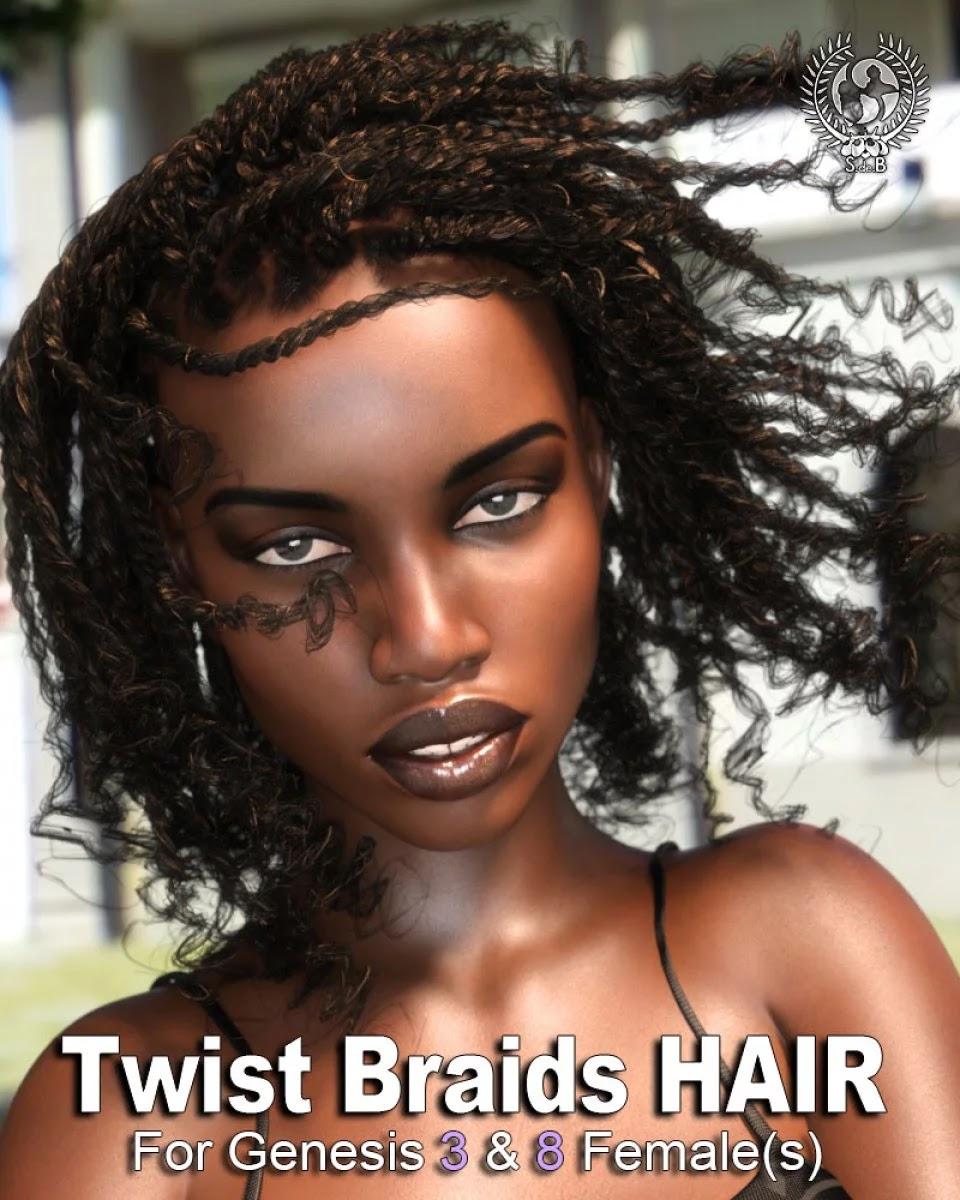 Twist Braids Hair for Genesis 3 and 8 Female(s)_DAZ3D下载站