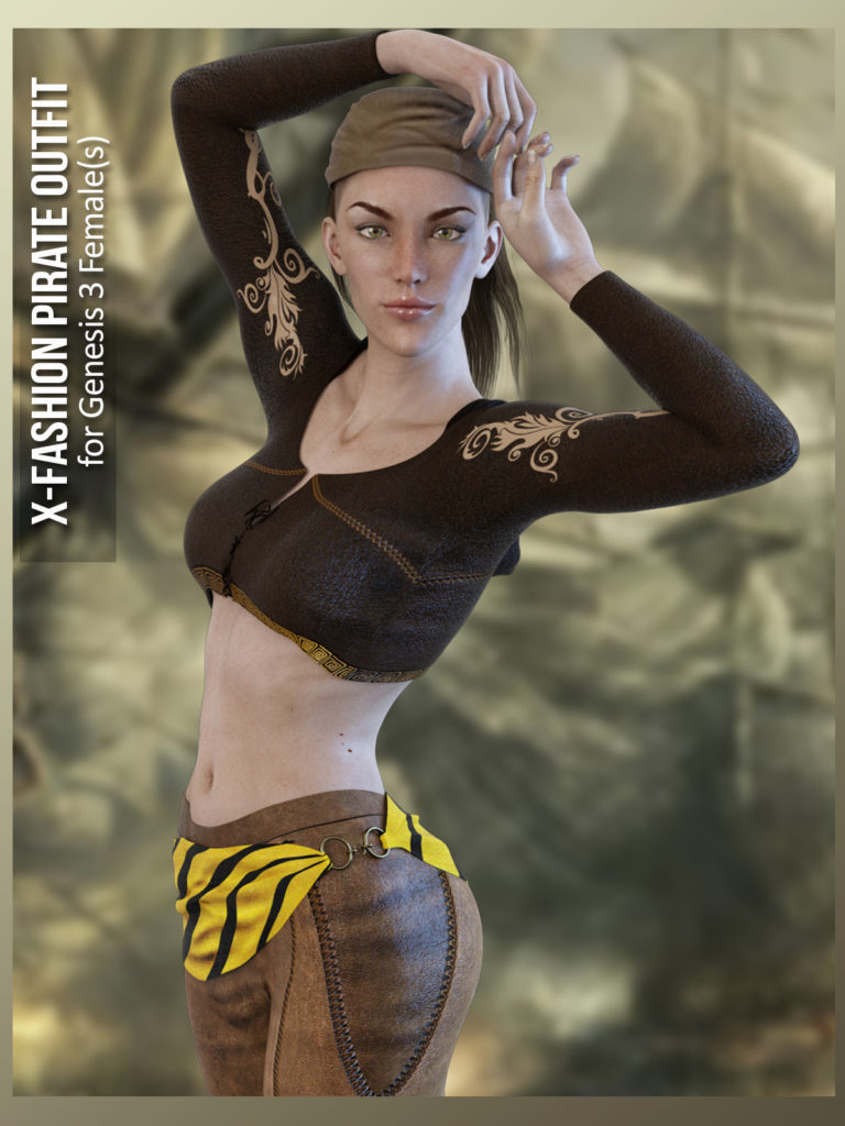 X-Fashion Pirate Outfit for Genesis 3 Female(s)_DAZ3D下载站