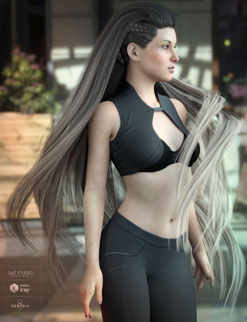 Xelene Hair for Genesis 3 & 8 Female(s)_DAZ3D下载站