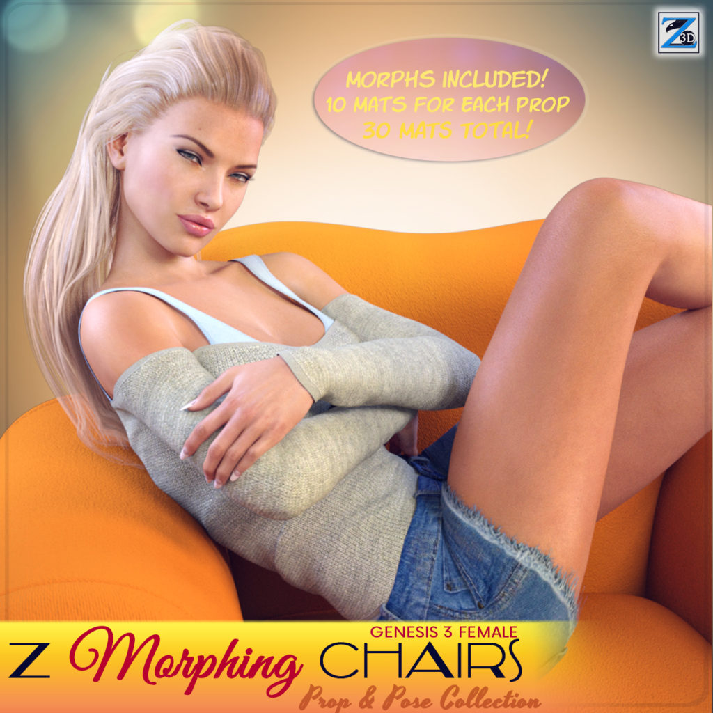 Z Morphing Chairs & Poses for Genesis 3 Female_DAZ3D下载站