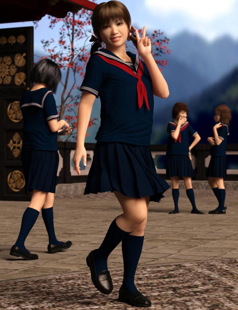 dForce Japanese Sailor Girl Outfit for Genesis 8 Female(s)_DAZ3D下载站