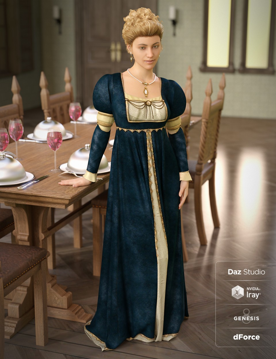 dForce Renaissance Dress for Genesis 8 Female(s)_DAZ3D下载站