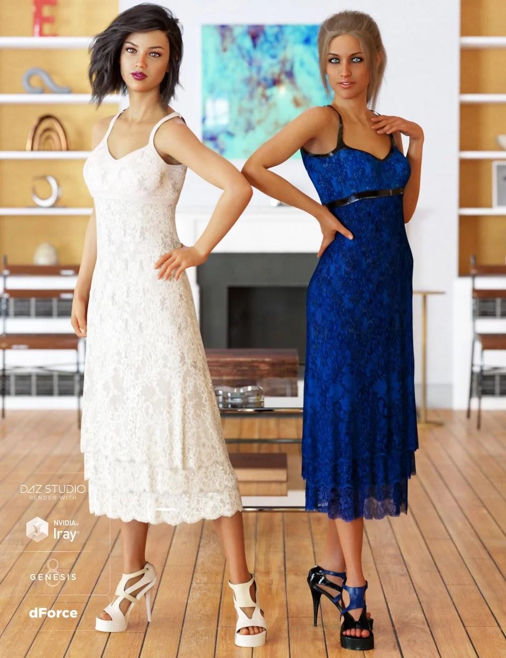 dForce 90's Girl Dress Textures_DAZ3D下载站