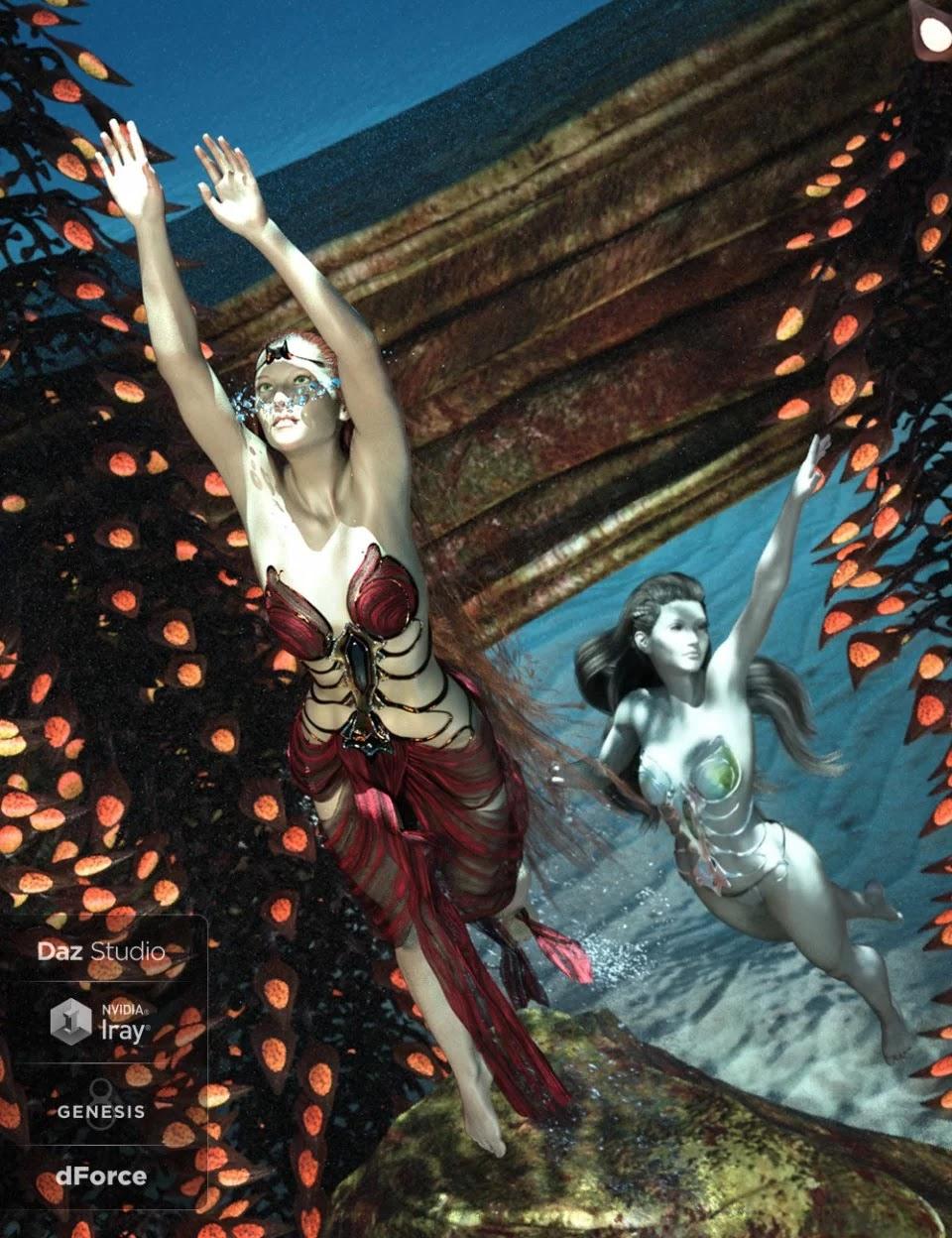 dForce Aguja Mermaid Dress for Genesis 8 Female_DAZ3D下载站