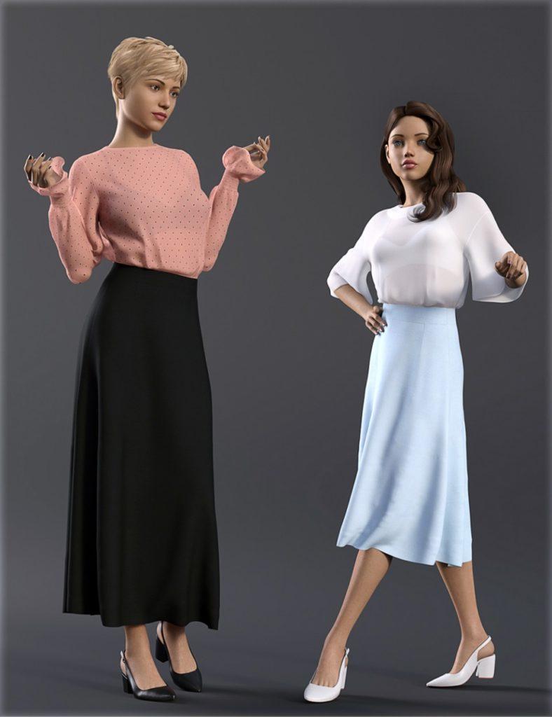 dForce H&C Long Skirt Outfit for Genesis 8 Female(s)_DAZ3D下载站