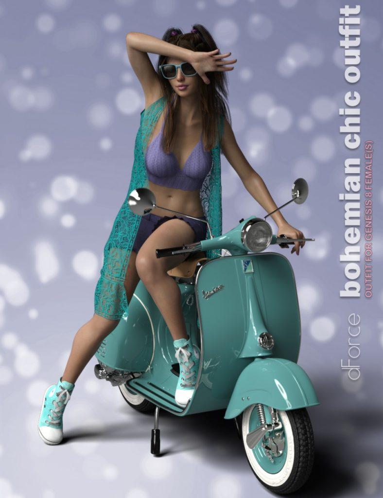 dForce P3D Bohemian Chic Outfit for Genesis 8 Female(s)_DAZ3D下载站