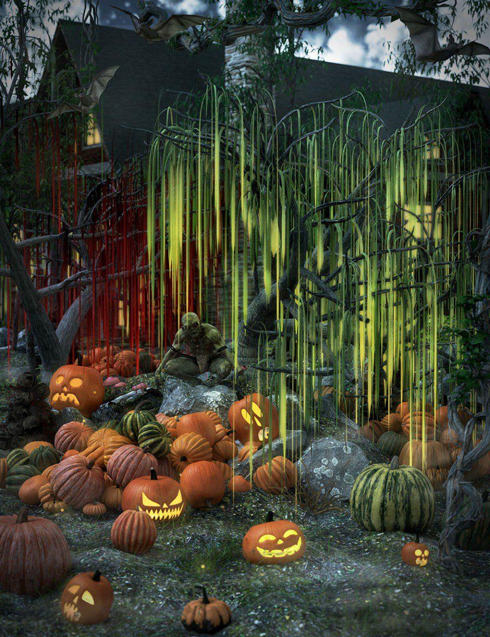 All Hallows Eve Slime Trees_DAZ3D下载站
