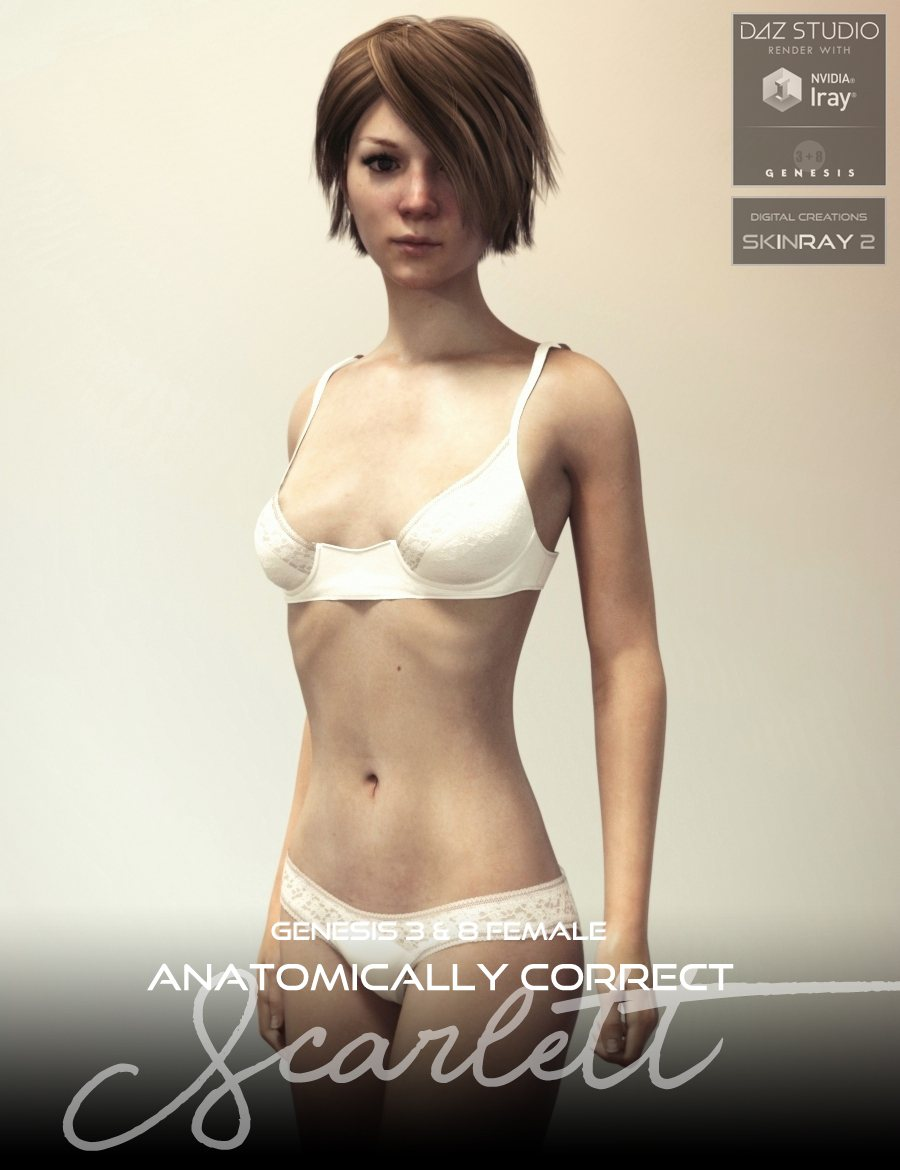 Anatomically Correct: Scarlett for Genesis 3 and Genesis 8 Female_DAZ3D下载站