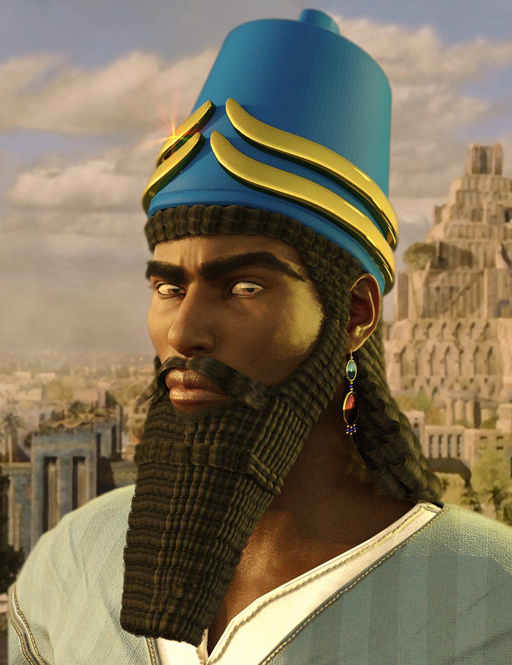 Assyrian Headdress for Genesis 8 Males_DAZ3D下载站