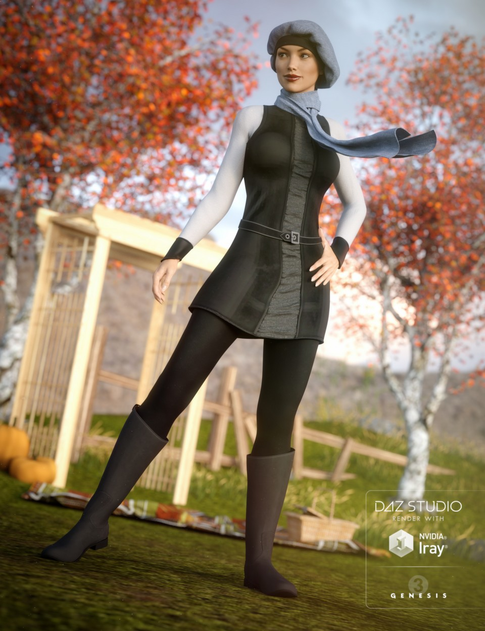 Autumn Chic Outfit for Genesis 3 Female(s)_DAZ3D下载站