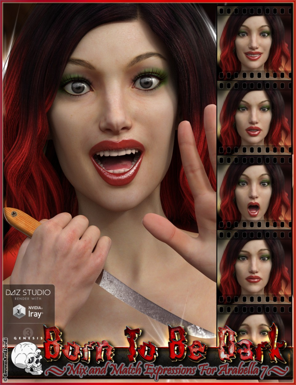 Born To Be Dark Mix and Match Expressions for Arabella 7_DAZ3D下载站