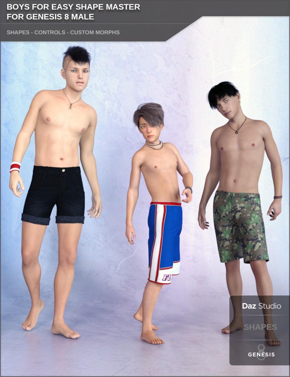 Boys for Easy Shape Master for Genesis 8 Male_DAZ3D下载站