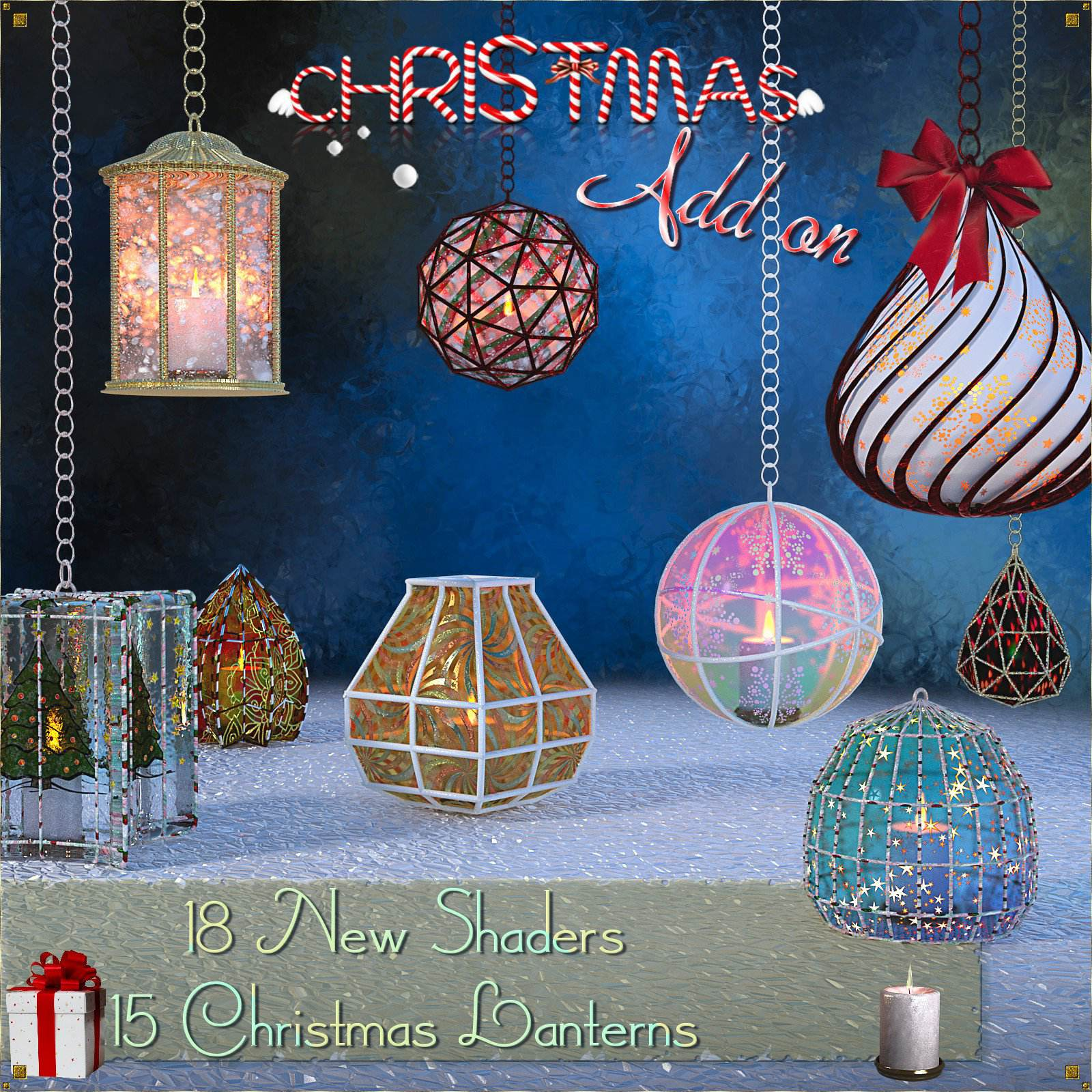 Caged Lanterns – Christmas Add on for DAZ_DAZ3D下载站