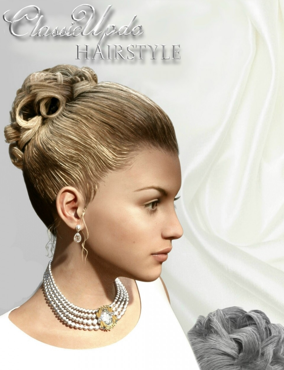 Classic Updo Hairstyle for Genesis 3 Female(s)_DAZ3D下载站